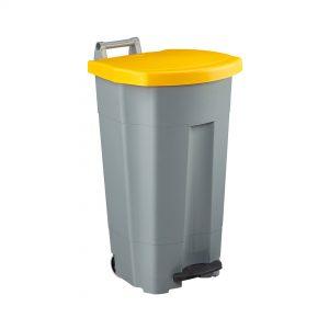 Poubelle de cuisine Haccp 90 litres corps gris couvercle jaune